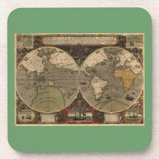 Mapa del mundo 1595 del vintage de Jodocus Hondius Posavaso