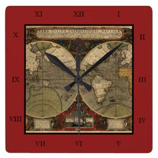 Mapa del mundo 1595 del vintage de Jodocus Hondius Reloj De Pared