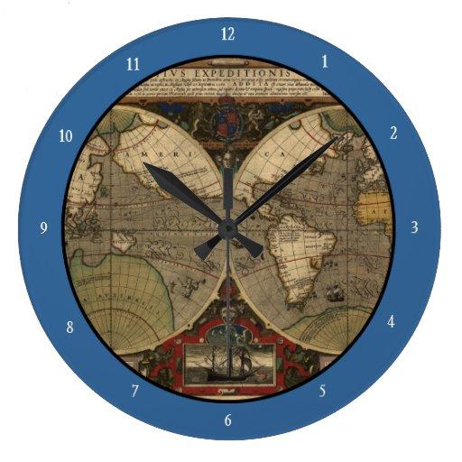 Mapa del mundo 1595 del vintage de Jodocus Hondius Reloj