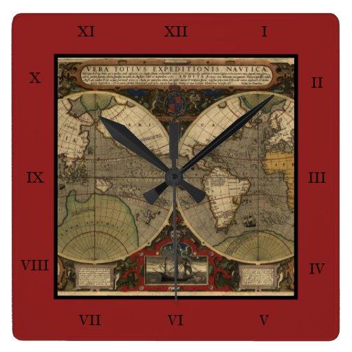 Mapa del mundo 1595 del vintage de Jodocus Hondius Reloj Cuadrado