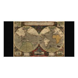 Mapa del mundo 1595 del vintage de Jodocus Hondius Tarjetas Fotograficas Personalizadas