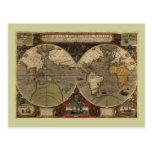 Mapa del mundo 1595 del vintage de Jodocus Hondius Postal