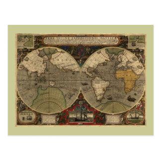 Mapa del mundo 1595 del vintage de Jodocus Hondius Postales