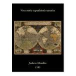 Mapa del mundo 1595 del vintage de Jodocus Hondius Tarjeta Postal