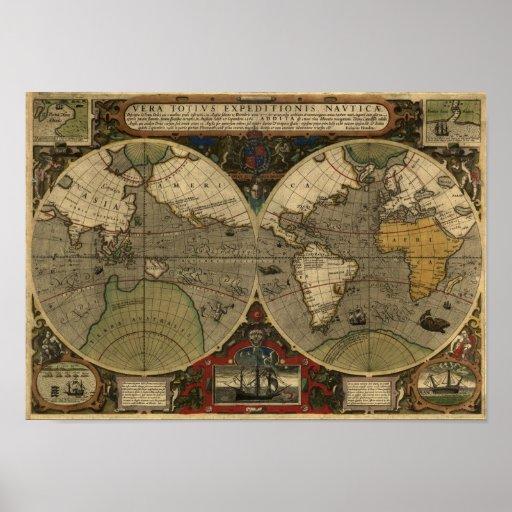 """Mapa del mundo 1595 mapa histórico de Hondius"" Póster"