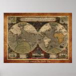 """Mapa del mundo 1595 mapa histórico grande de Hond Poster"