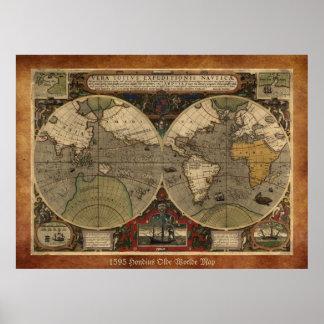 """Mapa del mundo 1595 mapa histórico grande de Hond Póster"