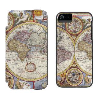 Mapa del mundo 1626 del vintage funda billetera para iPhone 5 watson