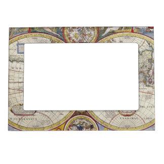 Mapa del mundo 1626 del vintage marcos magnéticos de fotos