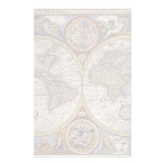 Mapa del mundo 1626 del vintage papelería personalizada