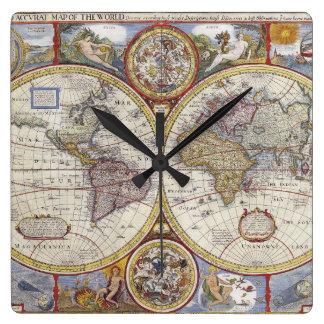 Mapa del mundo 1626 del vintage reloj cuadrado