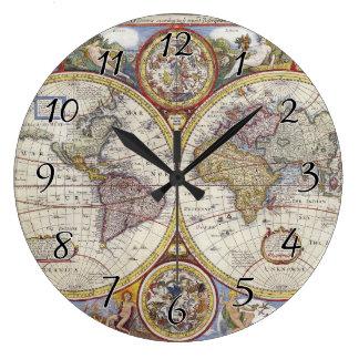 Mapa del mundo 1626 del vintage reloj redondo grande