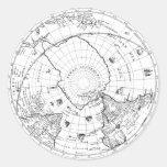 Mapa del mundo 1628 (hemisferio meridional) pegatina redonda
