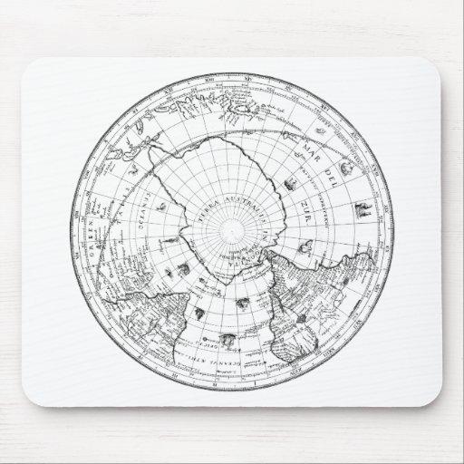 Mapa del mundo 1628 (hemisferio meridional) alfombrilla de ratones