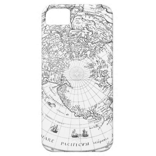 Mapa del mundo 1628 (hemisferio norte) iPhone 5 cárcasas