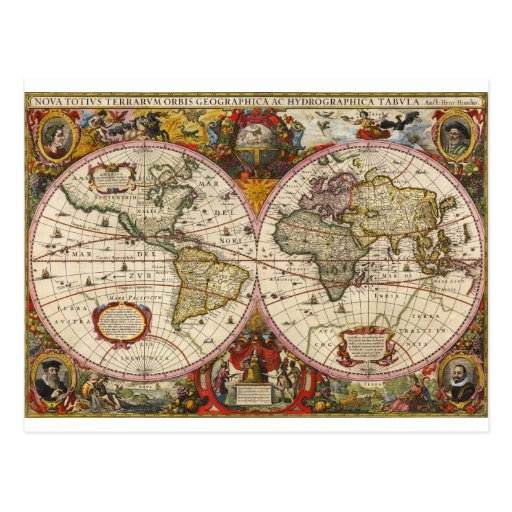 Mapa del mundo 1630 tarjetas postales