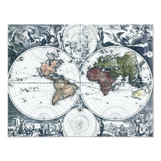 Mapa del mundo 1658 de Nicolao Visscher del Invitación 10,8 X 13,9 Cm