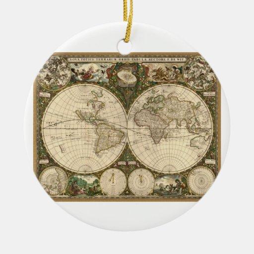 Mapa del mundo 1660 de la antigüedad de Frederick Adorno Navideño Redondo De Cerámica