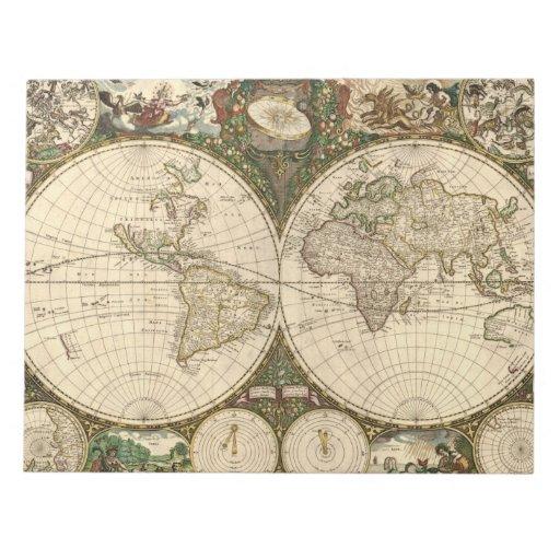 Mapa del mundo 1660 de la antigüedad de Frederick  Bloc De Papel