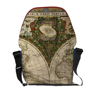 Mapa del mundo 1660 de la antigüedad de Frederick  Bolsa De Mensajería