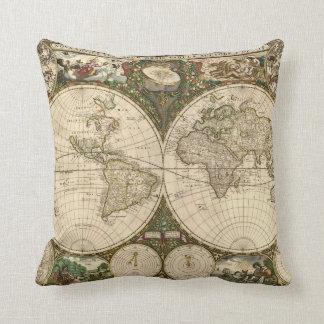 Mapa del mundo 1660 de la antigüedad de Frederick  Cojín