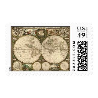 Mapa del mundo 1660 de la antigüedad de Frederick Estampilla