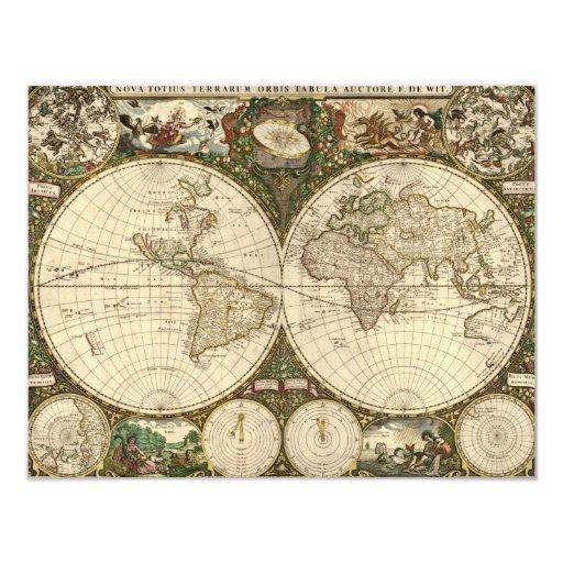 """Mapa del mundo 1660 de la antigüedad de Frederick Invitación 4.25"""" X 5.5"""""""