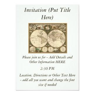 """Mapa del mundo 1660 de la antigüedad de Frederick Invitación 5.5"""" X 7.5"""""""
