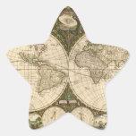 Mapa del mundo 1660 de la antigüedad de Frederick Pegatinas Forma De Estrella Personalizadas