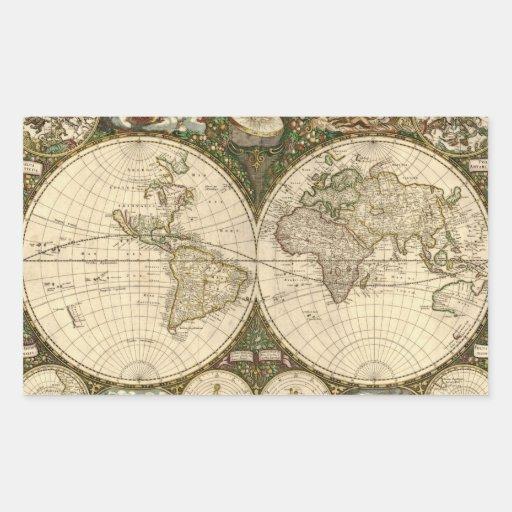 Mapa del mundo 1660 de la antigüedad de Frederick Rectangular Altavoces