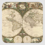 Mapa del mundo 1660 de la antigüedad de Frederick Calcomania Cuadradas Personalizada