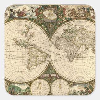 Mapa del mundo 1660 de la antigüedad de Frederick Pegatina Cuadrada