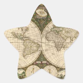 Mapa del mundo 1660 de la antigüedad de Frederick Pegatina En Forma De Estrella