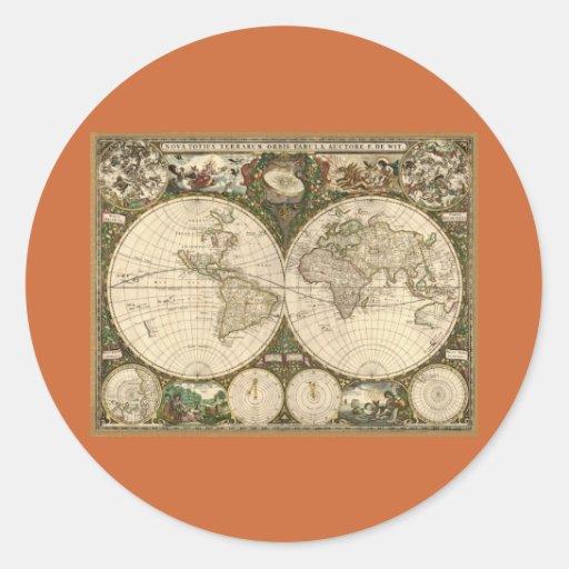 Mapa del mundo 1660 de la antigüedad de Frederick Pegatina Redonda