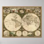 Mapa del mundo 1660 de la antigüedad de Frederick Póster