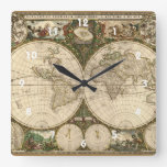 Mapa del mundo 1660 de la antigüedad de Frederick  Reloj