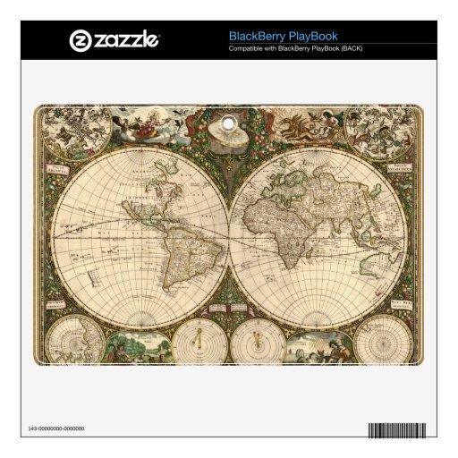 Mapa del mundo 1660 de la antigüedad de Frederick  BlackBerry Skin