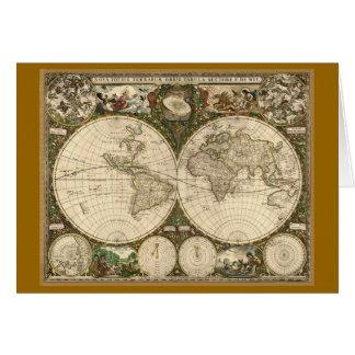 Mapa del mundo 1660 de la antigüedad de Frederick Tarjeta De Felicitación