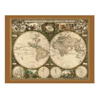 Mapa del mundo 1660 de la antigüedad de Frederick Tarjeta Postal