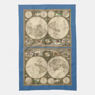 Mapa del mundo 1660 de la antigüedad de Frederick Toalla De Cocina