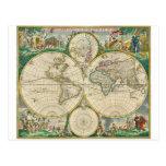 Mapa del mundo 1670 postal