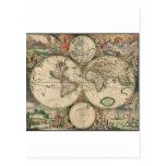 Mapa del mundo 1671 postal
