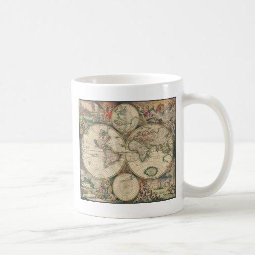 Mapa del mundo 1671 tazas de café