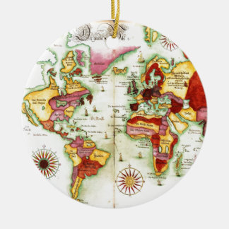 Mapa del mundo 1675 adorno navideño redondo de cerámica