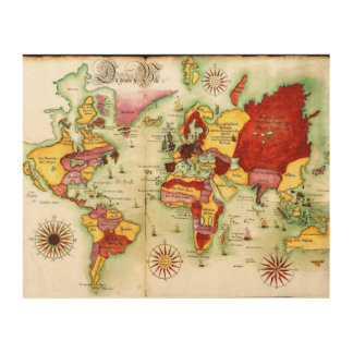 Mapa del mundo, 1675 cuadro de madera