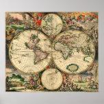 mapa del mundo 1680 de van Schagen Impresiones