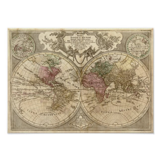 Mapa del mundo 1690 de la antigüedad de Guillaume  Póster