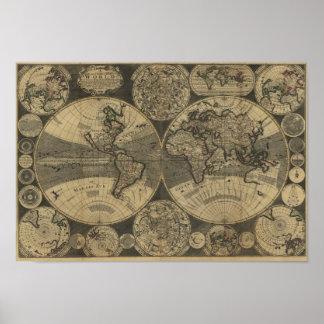Mapa del mundo 1702 de la antigüedad del vintage d poster