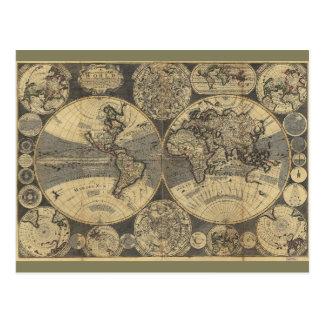 Mapa del mundo (1702) postal