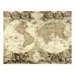 Mapa del mundo 1708 de Jean Baptiste Nolin Tarjetones